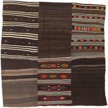 Kelim Patchwork Teppich  199X199 Echter Moderner Handgewebter Quadratisch Dunkelbraun (Wolle, Türkei)