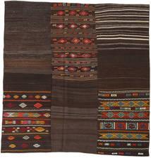 Kelim Patchwork Teppich  208X212 Echter Moderner Handgewebter Quadratisch Dunkelbraun (Wolle, Türkei)