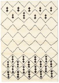 Berber Indisch - Off-Weiß/Schwarz Teppich  140X200 Echter Moderner Handgeknüpfter Beige/Weiß/Creme (Wolle, Indien)