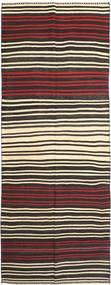 Kelim Fars Teppich  155X407 Echter Orientalischer Handgewebter Läufer Schwartz/Dunkelbraun (Wolle, Persien/Iran)