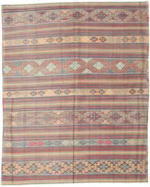 Kelim Türkei Teppich 196X244 Echter Orientalischer Handgewebter Hellgrau/Dunkelbraun (Wolle, Türkei)
