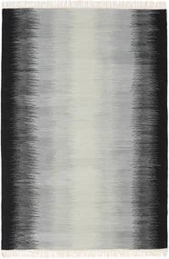 Ikat - Schwarz/Grau Teppich  140X200 Echter Moderner Handgewebter Hellgrau/Schwartz (Wolle, Indien)