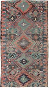Kelim Türkei Teppich 163X292 Echter Orientalischer Handgewebter Dunkelgrau/Hellbraun (Wolle, Türkei)