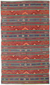 Kelim Türkei Teppich 170X296 Echter Orientalischer Handgewebter Dunkelrot/Dunkelgrün (Wolle, Türkei)