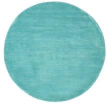 Handloom - Aqua Teppich  Ø 150 Moderner Rund Dunkel Türkis/Türkisblau (Wolle, Indien)