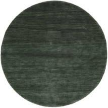 Handloom - Waldgrün Teppich Ø 150 Moderner Rund Dunkelgrün/Dunkelgrün (Wolle, Indien)