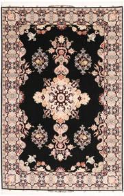 Tabriz#60 Raj Seidenkette Teppich 202X305 Echter Orientalischer Handgeknüpfter Schwartz/Dunkelbraun (Wolle/Seide, Persien/Iran)