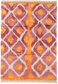 Handknotted Berber Shaggy Teppich 196X281 Echter Moderner Handgeknüpfter Orange/Rost/Rot (Wolle, Türkei)
