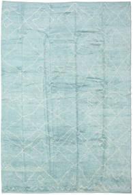 Handknotted Berber Shaggy Teppich 296X429 Echter Moderner Handgeknüpfter Türkisblau/Hellblau/Lindgrün Großer (Wolle, Türkei)