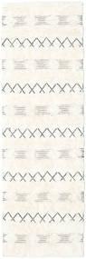 Shedir - Weiß Teppich  80X250 Echter Moderner Handgewebter Läufer Beige/Weiß/Creme (Wolle, Indien)
