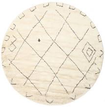 Almaaz - Weiß Teppich  Ø 250 Echter Moderner Handgeknüpfter Rund Beige/Weiß/Creme Großer (Wolle, Indien)
