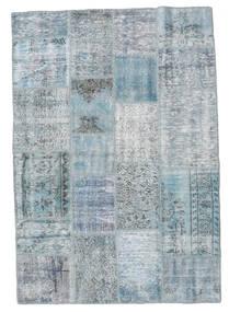 Patchwork Teppich  139X201 Echter Moderner Handgeknüpfter Hellblau/Hellgrau (Wolle, Türkei)
