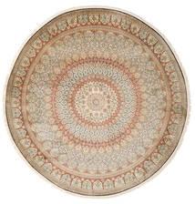 Kaschmir Reine Seide Teppich Ø 248 Echter Orientalischer Handgeknüpfter Rund Beige/Hellgrau (Seide, Indien)