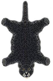 Leopard - Schwarz Teppich  100X160 Moderner Dunkelgrau (Wolle, Indien)