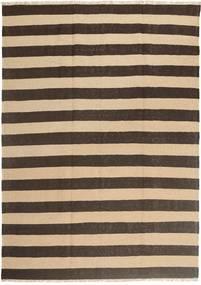 Kelim Teppich  168X236 Echter Orientalischer Handgewebter Dunkelbraun/Beige (Wolle, Persien/Iran)