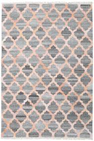 Kathi - Grau/Coral Teppich  200X300 Echter Moderner Handgewebter Hellgrau/Dunkelgrau/Hellrosa ( Indien)