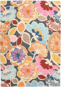 Flower Power - Multi Teppich  160X230 Moderner Gelb/Dunkelgrau (Wolle, Indien)