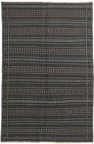 Kelim Teppich  152X235 Echter Orientalischer Handgewebter Dunkelgrau/Schwartz (Wolle, Persien/Iran)