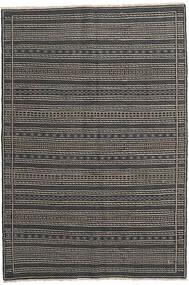 Kelim Persisch Teppich 160X230 Echter Orientalischer Handgewebter Dunkelgrau/Schwartz/Hellgrau (Wolle, Persien/Iran)
