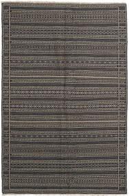 Kelim Teppich  155X236 Echter Orientalischer Handgewebter Dunkelgrau/Schwartz/Hellgrau (Wolle, Persien/Iran)
