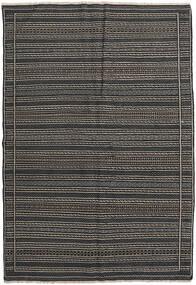 Kelim Persisch Teppich  160X230 Echter Orientalischer Handgewebter Dunkelgrau/Schwartz (Wolle, Persien/Iran)