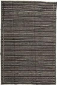 Kelim Teppich  197X298 Echter Orientalischer Handgewebter Dunkelgrau/Hellgrau (Wolle, Persien/Iran)