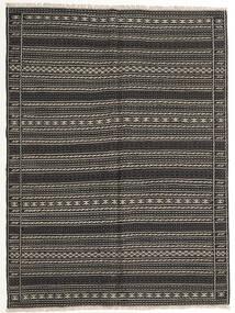 Kelim Teppich  155X210 Echter Orientalischer Handgewebter Dunkelgrau/Schwartz (Wolle, Persien/Iran)
