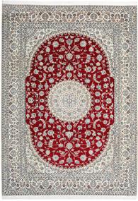 Nain 9La Teppich  246X345 Echter Orientalischer Handgeknüpfter Hellgrau/Beige (Wolle/Seide, Persien/Iran)