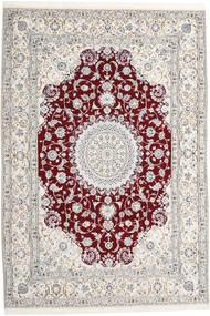 Nain 9La Teppich  247X368 Echter Orientalischer Handgeknüpfter Hellgrau/Beige (Wolle/Seide, Persien/Iran)