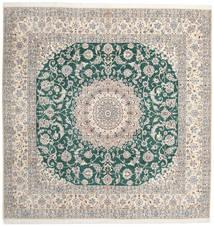 Nain 9La Teppich  302X304 Echter Orientalischer Handgeknüpfter Quadratisch Hellgrau/Beige Großer (Wolle/Seide, Persien/Iran)