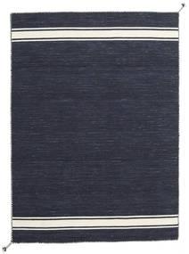 Ernst - Navy/Naturweiß Teppich  140X200 Echter Moderner Handgewebter Dunkelblau/Dunkelgrau (Wolle, Indien)