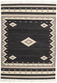 Tribal - Schwarz Teppich  160X230 Echter Moderner Handgewebter Schwartz/Beige (Wolle, Indien)