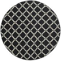 London - Schwarz/Naturweiß Teppich Ø 225 Echter Moderner Handgewebter Rund Schwartz (Wolle, Indien)