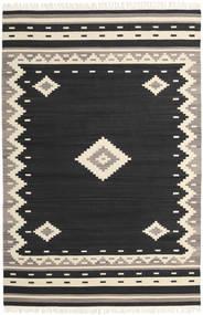 Tribal - Schwarz Teppich  200X300 Echter Moderner Handgewebter Schwartz/Beige (Wolle, Indien)