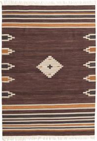 Tribal - Braun Teppich 140X200 Echter Moderner Handgewebter Dunkelbraun/Dunkelrot (Wolle, Indien)