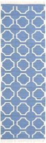 London - Blau/Naturweiß Teppich 80X250 Echter Moderner Handgewebter Läufer Blau/Weiß/Creme (Wolle, Indien)