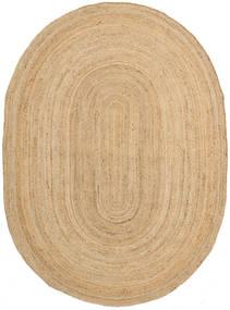 Frida Oval - Natural Teppich  140X200 Echter Moderner Handgewebter Dunkel Beige/Beige ( Indien)