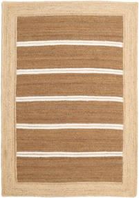 Outdoor-Teppich Frida Stripe - Braun Teppich  140X200 Echter Moderner Handgewebter Dunkel Beige/Beige/Hellbraun (Jute-Teppich Indien)