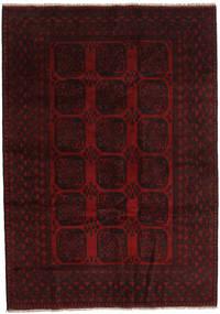 Afghan Teppich 203X286 Echter Orientalischer Handgeknüpfter Dunkelrot (Wolle, Afghanistan)