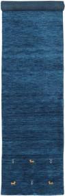 Gabbeh Loom Two Lines - Dunkelblau Teppich  80X350 Moderner Läufer Dunkelblau/Blau (Wolle, Indien)