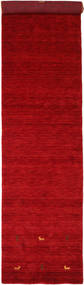Gabbeh Loom Two Lines - Rot Teppich 80X350 Moderner Läufer Rot/Dunkelrot (Wolle, Indien)