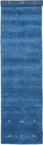 Gabbeh Loom Two Lines - Blau Teppich 80X350 Moderner Läufer Blau/Dunkelblau (Wolle, Indien)