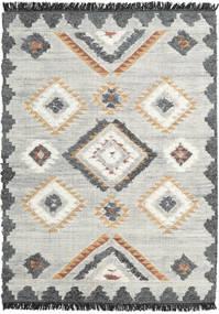 Dixie Teppich 140X200 Echter Moderner Handgewebter Hellgrau/Dunkel Beige (Wolle, Indien)