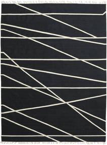 Cross Lines - Schwarz/Naturweiß Teppich  200X300 Echter Moderner Handgewebter Schwartz (Wolle, Indien)