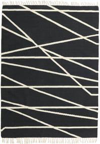 Cross Lines - Schwarz/Naturweiß Teppich  160X230 Echter Moderner Handgewebter Dunkelgrau/Beige (Wolle, Indien)