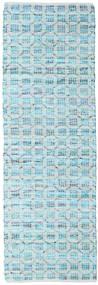 Elna - Bright_Blue Teppich  80X250 Echter Moderner Handgewebter Läufer Hellblau/Türkisblau (Baumwolle, Indien)