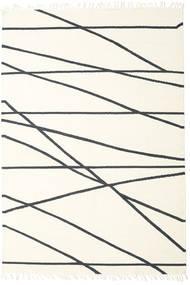 Cross Lines - Naturweiß/Schwarz Teppich  200X300 Echter Moderner Handgewebter Beige/Weiß/Creme (Wolle, Indien)