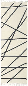 Cross Lines - Naturweiß/Schwarz Teppich 80X350 Echter Moderner Handgewebter Läufer Beige/Dunkelgrau (Wolle, Indien)