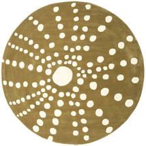 Sjöborre Handtufted - Olive Teppich  Ø 200 Moderner Rund Olivgrün/Beige (Wolle, Indien)