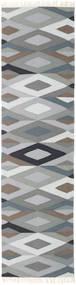 Zimba - Grau Teppich 80X300 Echter Moderner Handgewebter Läufer Hellgrau/Dunkelgrau (Wolle, Indien)